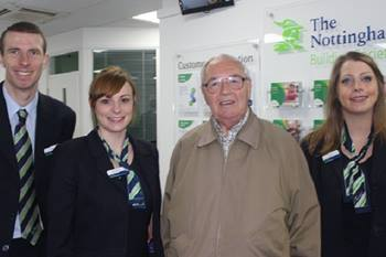 Belper Opening - Resident Alan Manning with branch building society team